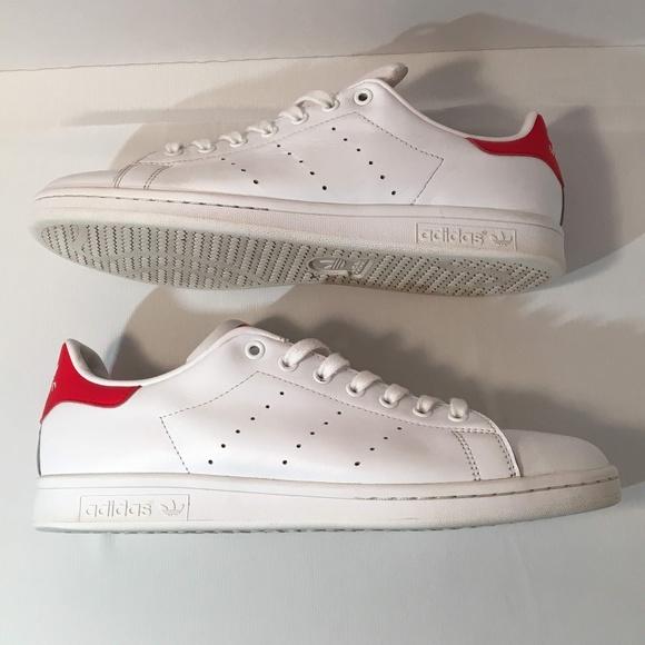 size 40 e278a 14291 Adidas Originals White & Red Stan Smith Sneakers